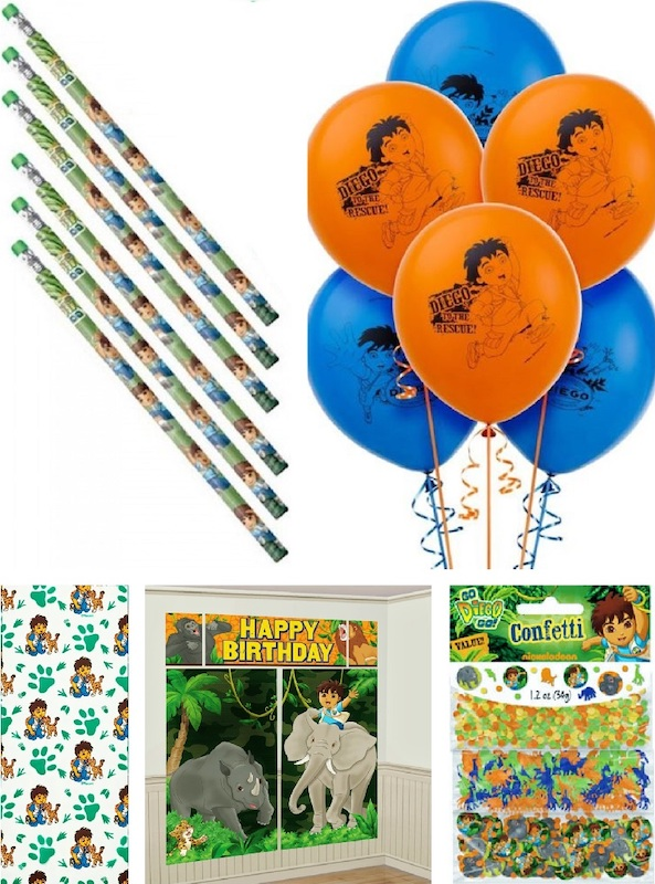 GO DIEGO GO Scene Setter HAPPY BIRTHDAY party wall decoration kit over 6/' jungle